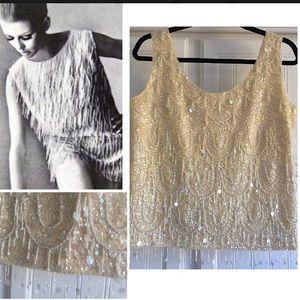 Tops - Vintage Mod 1960's Fringe Embellished Blouse L 12
